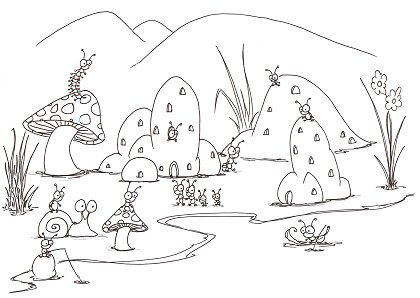 printable coloring page of a small bug town near a puddle