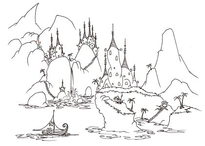 printable coloring page of a monkey sailing into an alligator village