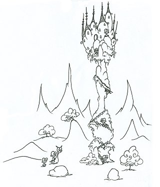 printable coloring page of a monkey castle on a tower