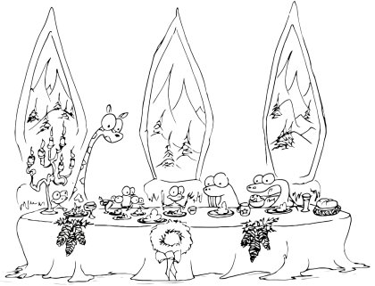 printable coloring page of monkeys, a giraffe, a walrus, an alligator, and some penguins having a holiday dinner