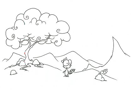 printable coloring page of a monkey carrying a wiener dog dachshund magnet through a hilly forest