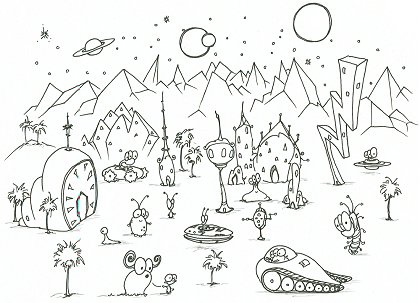 printable coloring page of some aliens on an alien planet