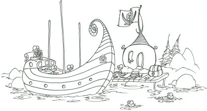 printable coloring page of some monkey pirates loading a treasure chest, also with a sea otter and a fish watching