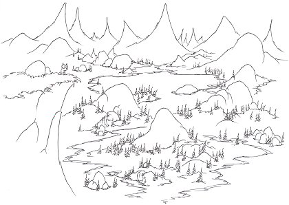 printable coloring page of a yellow bellied marmot looking out over Yosemite alpine meadows and a lake