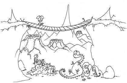 printable coloring page of a monkey pirate with a map crossing a bridge with dragons below and volcanoes nearby