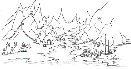 print a coloring page of an arctic village of penguins, polar bears, and monkey pirates delivering barrels from a ship