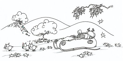 print a coloring page of a thanksgiving turkey in a sled with pigs instead of reindeer