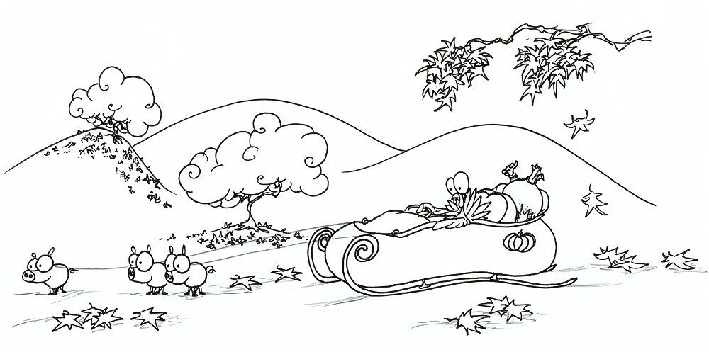 coloring page a turkey in a sleigh on Thanksgiving afternoon