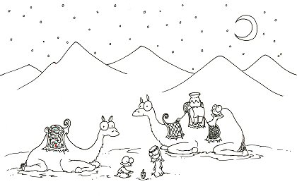 print a christmas coloring pages of two camels and some monkeys playign with a dreidel for hanukkah