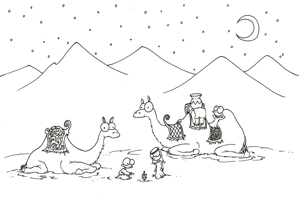 Print A Christmas Coloring Pages Of Two Camels And Some Monkeys Playign With Dreidel For
