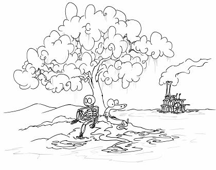 printable coloring page for children of a skeleton and an alligator sitting by a river watching a riverboat go by