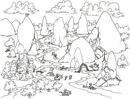 printable coloring page for children of a mountainous region with monkeys in boats, riding elephants, riding tigers, sleeping under trees, and a bison standing on top of a mountain