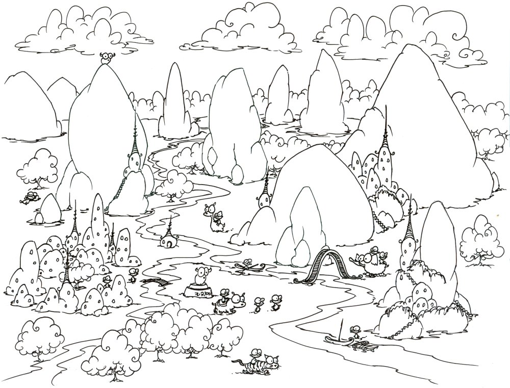 coloring page a mountainous monkey village - Mountain Landscape Coloring Pages