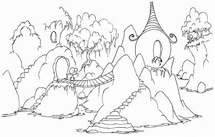 printable coloring page for kids of a village in rocks with monkeys