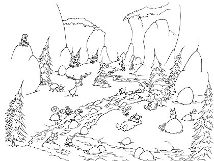 printable coloring page of a yosemite valley with bears swimming in the river, and owls, a falcon, and deer watching