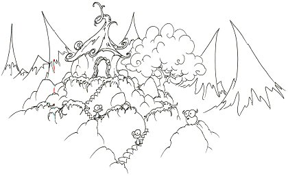 printable coloring page of monkeys in a house at the top of some mountains