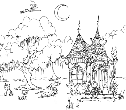 printable coloring page for halloween of a skeleton in a haunted house, a witch alligator, a monkey pirate, a kiwi princess, and a bat