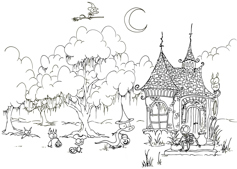 Coloring Page Trick Or Treating Creatures