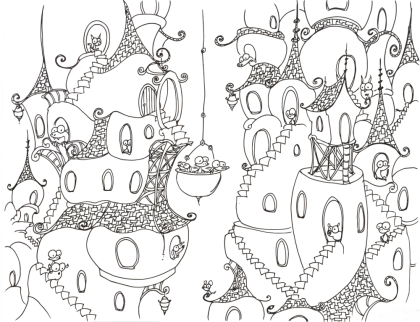 coloring page printable of a monkey, alligator, and wiener dog in a bucket on a rope in a bluebison city