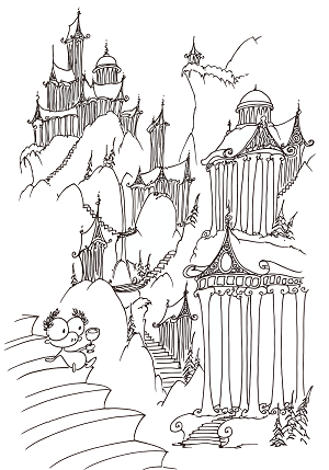 coloring page of a monkey sitting on some steps looking at a greek landscape
