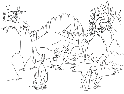 a free coloring page of a cartoon monkey riding a llama into a bear's cave full of crystals and bats and a waterfall