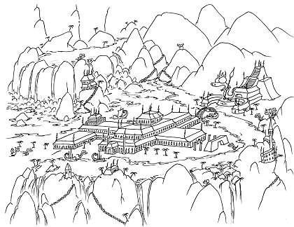 a free coloring page of monkeys sailing into a bay with greek looking buildings