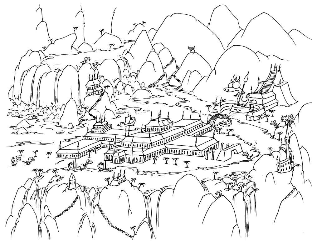 a free coloring page of monkeys sailing into a bay with greek looking buildings - Mountain Landscape Coloring Pages