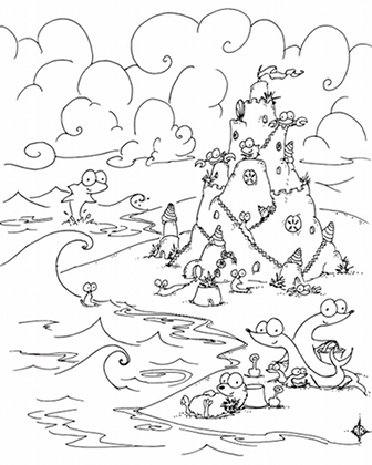 a free coloring page of a beach with an otter, seals, crabs, sea slugs, urchins, and sand dollars on a sand castle