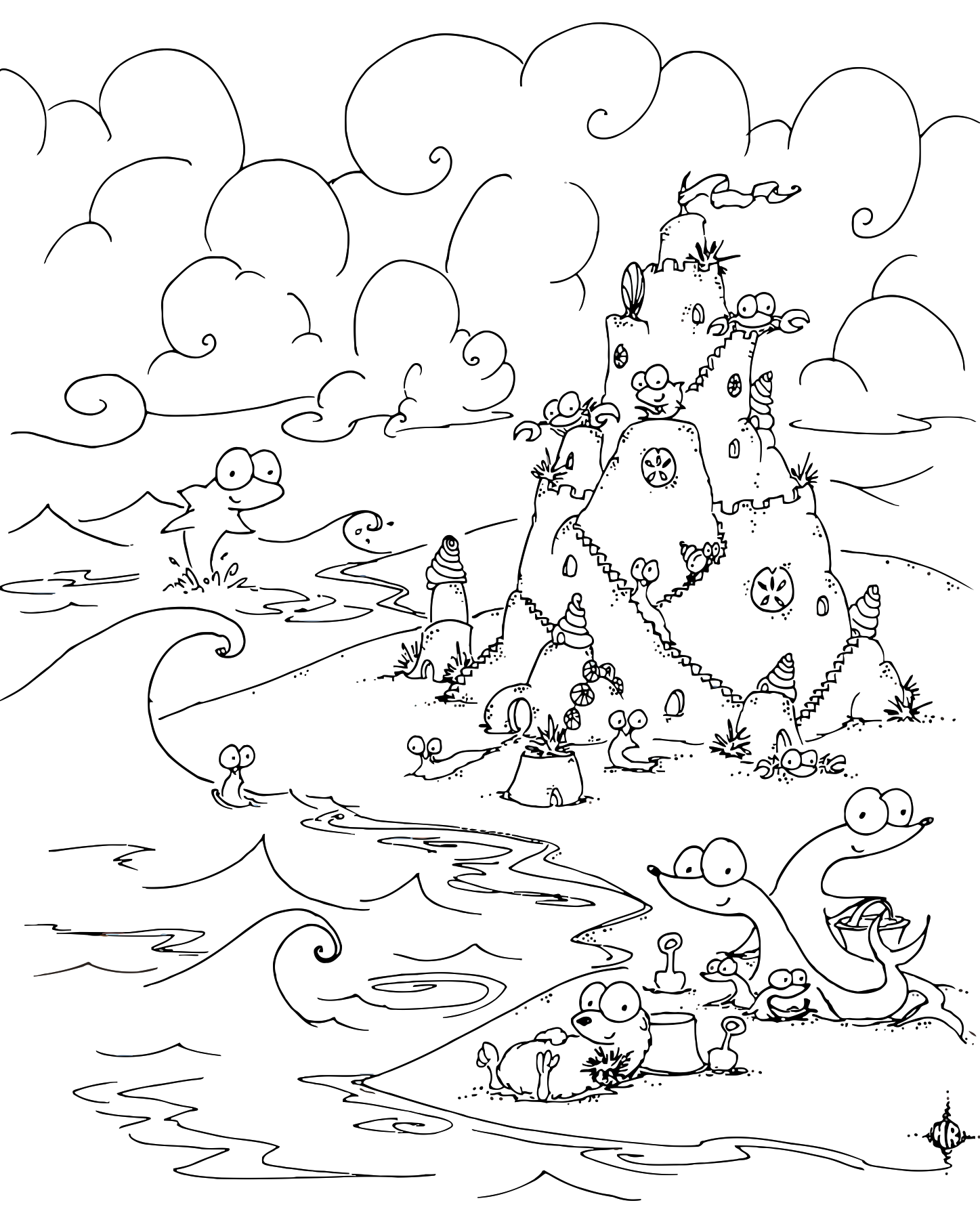 A Free Coloring Page Of Beach With An Otter Seals Crabs Sea