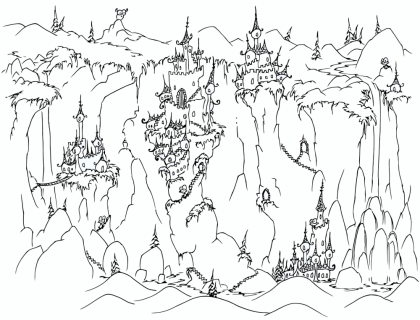 a free coloring page of castles on cliffs with monkeys walking around them