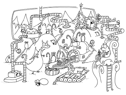 a free coloring page of christmas penguins and monkeys working in a factory making christmas presents