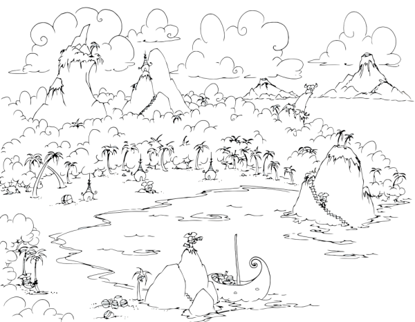 a free coloring page of a pirate cove with monkey pirates and volcanoes