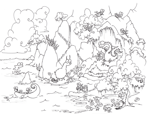 a free coloring page of adragon in a cave with treasure and baby dragons and a sloth and bunnies and a llama and mushrooms and butterflies and some other stuff