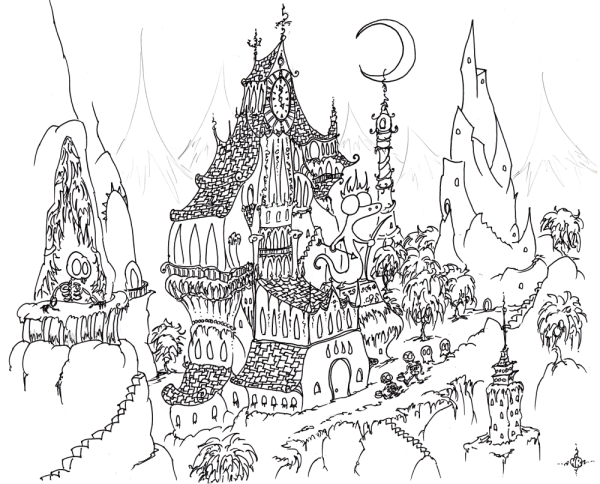 a free coloring page of a haunted halloween mansion in a weird haunted city with skeletons and ghosts and skeletons trick or treating