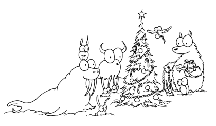 a free coloring page of a walrus, bison, monkey, rabbits, bird, and a bear decorating a christmas tree