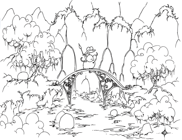 a free coloring page of an alligator riding a bluebison across a bridge in front of waterfalls