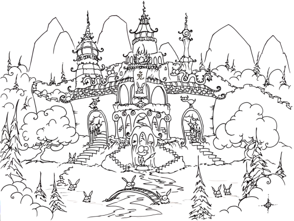 a free coloring page of a chinese temple with rabbits for the year of the rabbit, 2011