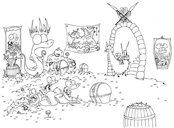 free printable coloring page of a monkey on a llama finding a group of pirate alligators in a room full of treasure chests and gold