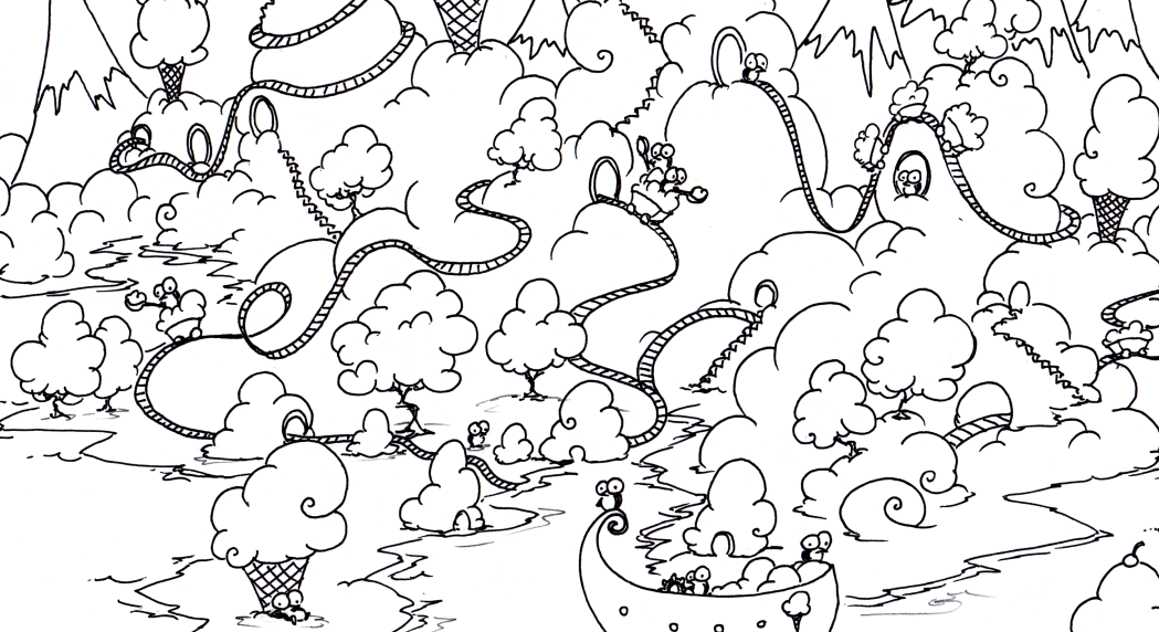 free printable coloring page of a penguins on an island made of ice cream