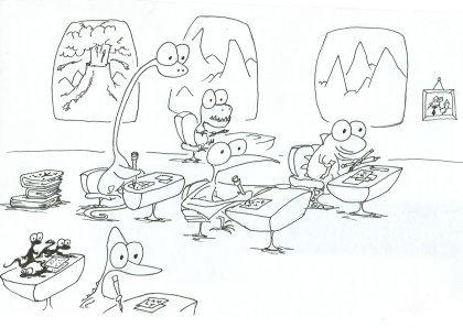 printable coloring book of a dinosaur school