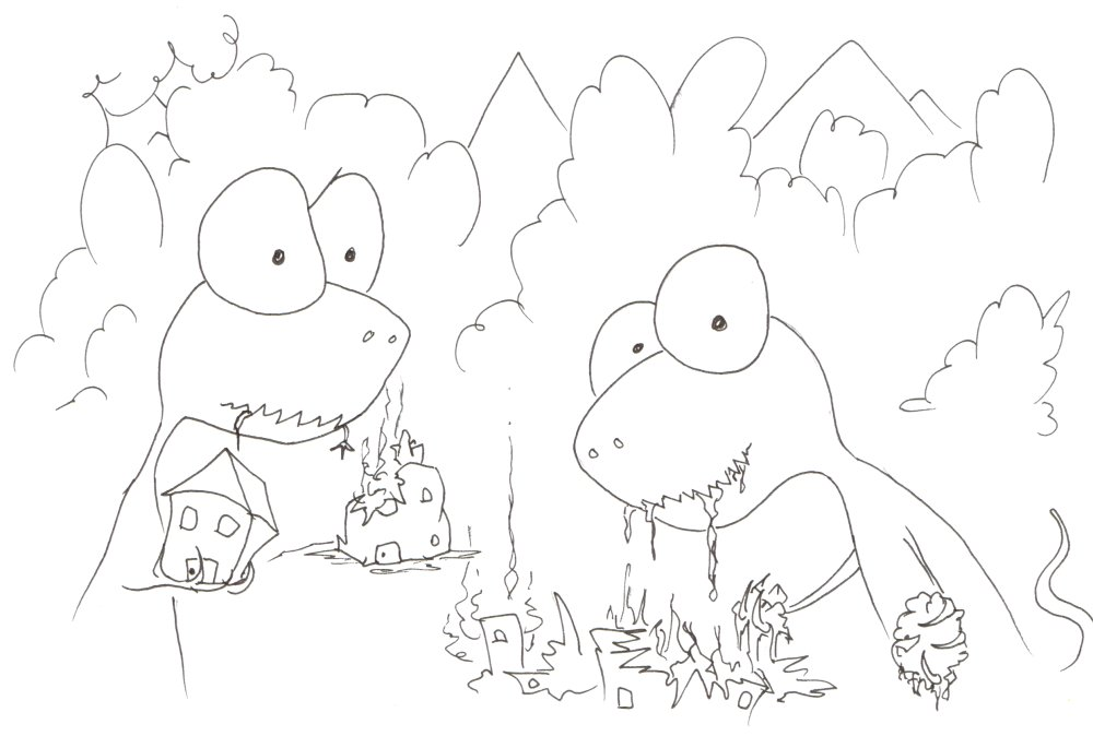 Coloring Pages Tyrannosauruses Eating Houses