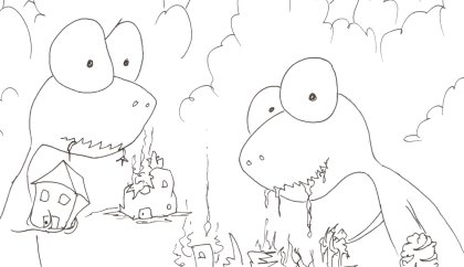 printable coloring book of a two tyrannosauruses eating some houses
