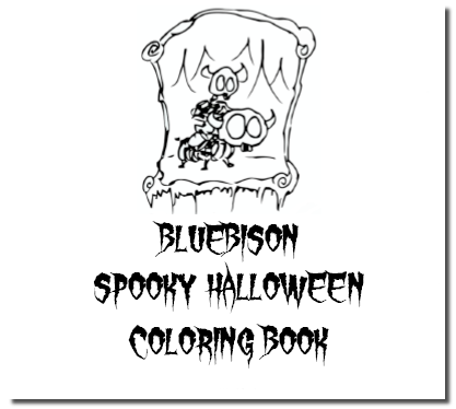 printable coloring pages of halloween skeletons, mummies, ghosts, bats, and other spooky stuff from bluebison.net