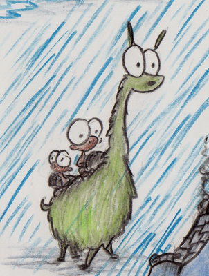 sketch of a monkey riding a green llama in the rain