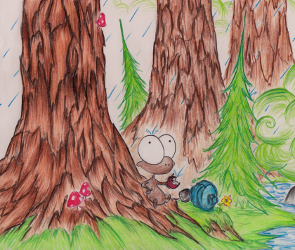 sketch of a monkey getting rained on in a forest from a new upcoming story from Hayes Roberts, bluebison