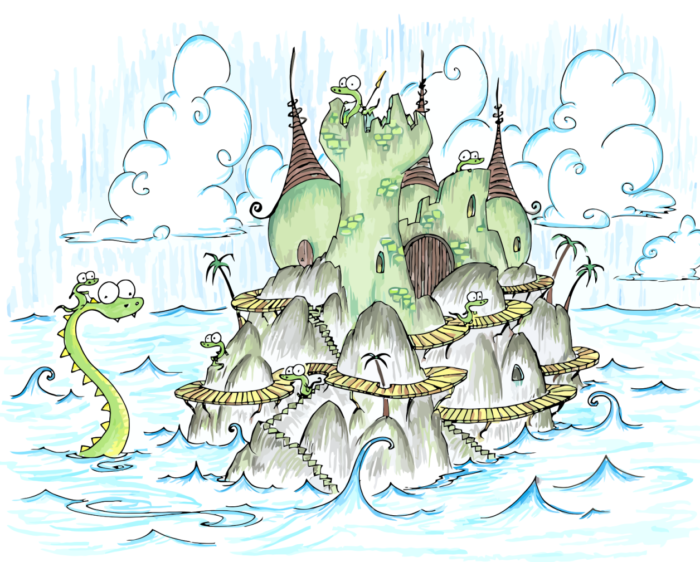 alligator castle in the sea, an alligator riding a sea monster, palm trees, and big waves