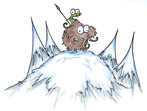 alligator and a woolly mammoth on a snowy peak