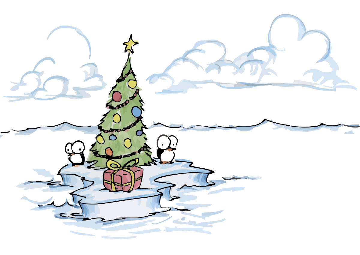 Penguins On Island With Christmas Tree
