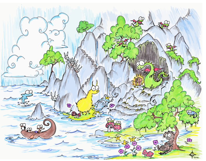 dragon in a cave with treasure near a sloth, a canoe full of penguins and monkeys, frogs on mushrooms, baby dragons, a blue iguana, a dolphin, and a bunch of rabbits on a cliff over the sea