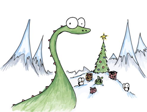 dinosaur and penguins with christmas tree